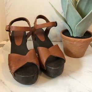 VTG-Brown Leather Wooden Platform Wedge Heels-8.5